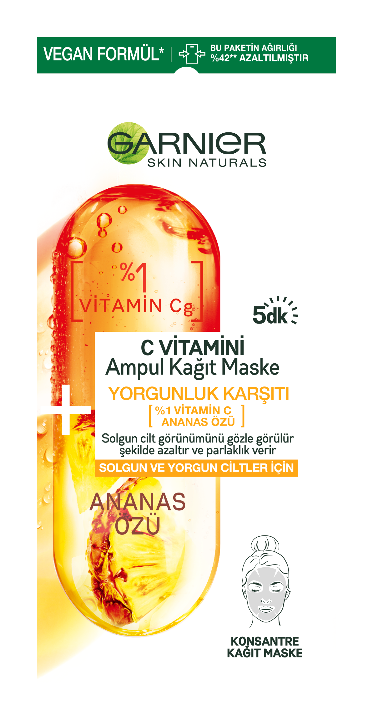 C Vitamini Yorgunluk Karşıtı Ampul Kağıt Yüz Maskesi