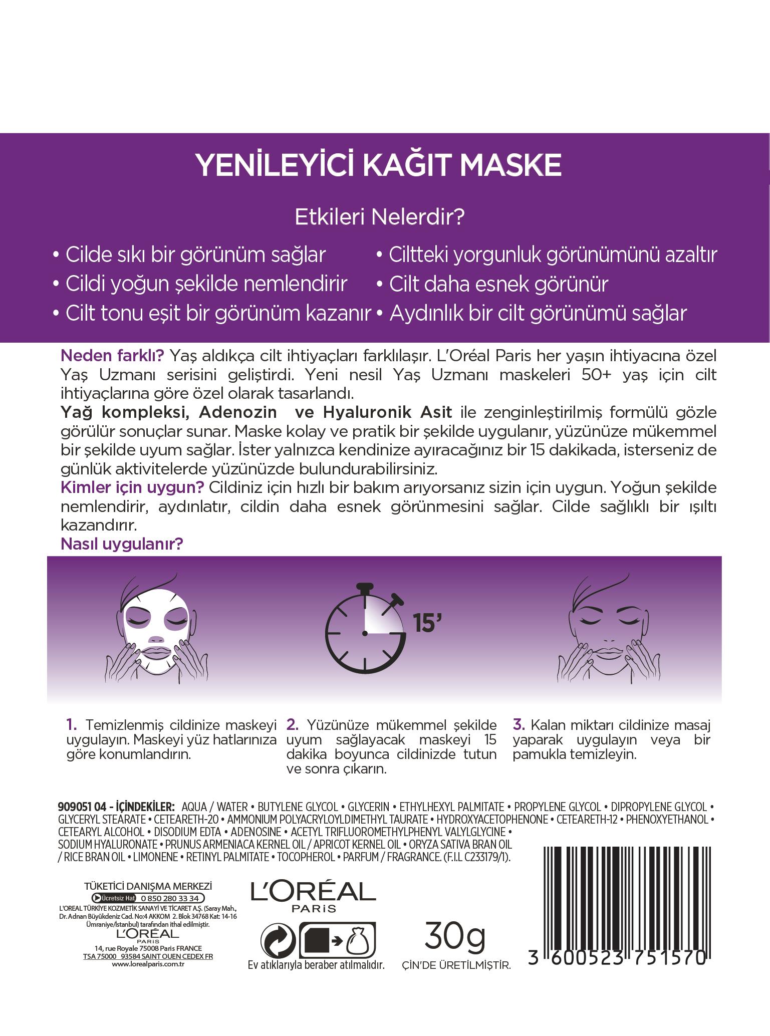 Yaş Uzmanı Yenileyici Kağıt Maske 50+