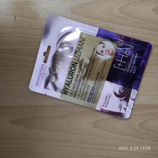 Maske-L'Oréal Paris-Hyaluron Uzmanı Kağıt Yüz Maskesi-asiguzel16-yorum-Puan-5puantiye