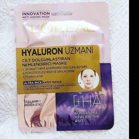 Maske-L'Oréal Paris-Hyaluron Uzmanı Kağıt Yüz Maskesi-deneyenblog9-yorum-Puan-5puantiye